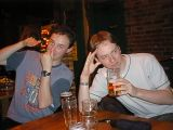Upin Arms: [Tuesday 25th July 2000] A night spent in the Upin Arms (a pub in Reading), drinking beer and playing Jenga.